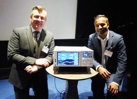 Lee Thomas (left) and Anoop Gangadharan with the Yokogawa WT5000 precision power analyser