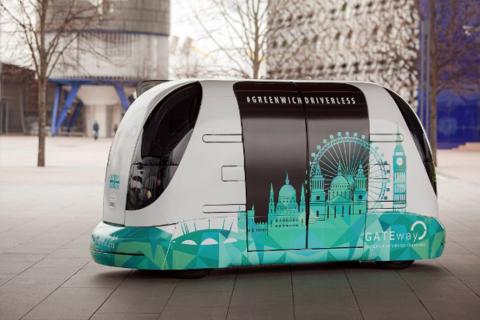 Driverless shuttle in Greenwich