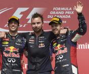 Red Bull celebrate their first victory of the season in Canada