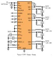 Schematic delivering 5, 3.3, 1.8 and 1.2V outputs