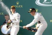 Nico Rosberg and Lewis Hamilton celebrate in Australia