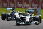 The two Mercedes drivers fighting it out at Spa